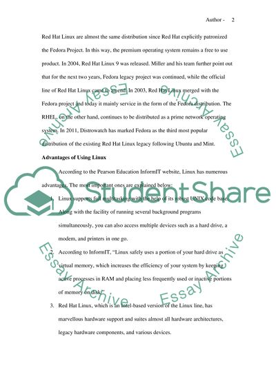 History of Linux Essay Example | Topics and Well Written