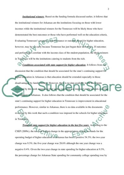 Two State Comparison Finance of Higher Education essay example