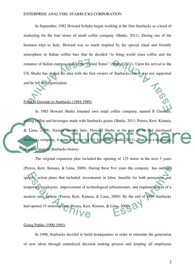 Enterprise Analysis: Starbucks Corporation essay example