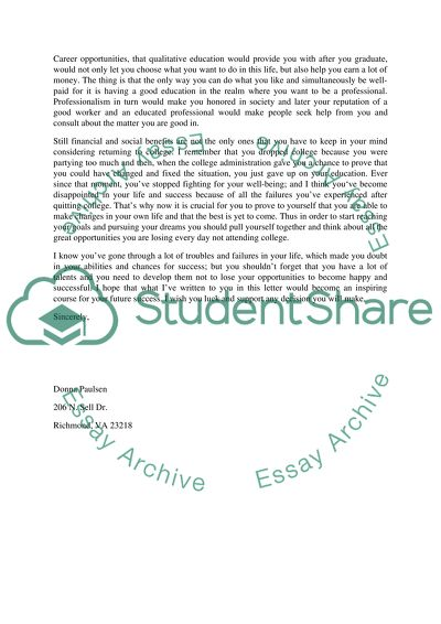 Reader, Role and Purpose Letters Portfolio