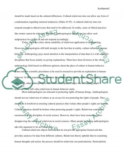 relativism essays Writing sample of essay on a given topic cultural relativism.