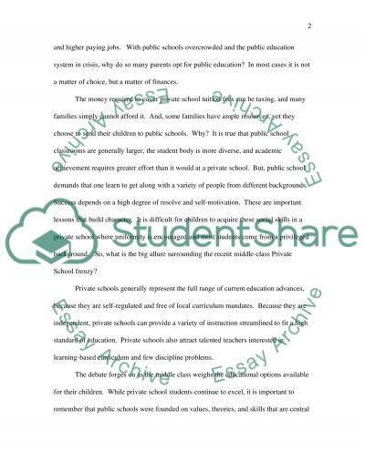 Public School Vs. Private School: An American Debate essay example