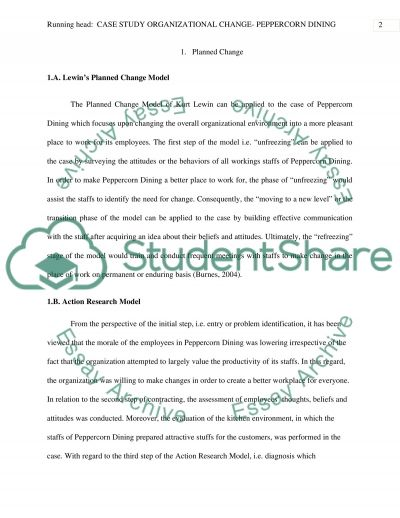 organizational change peppercorn dining case study organizational change peppercorn dining essay example