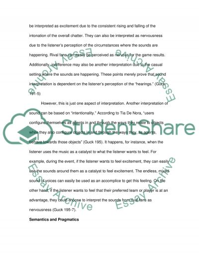 Sounds Analyses in a Sports Event Essay example