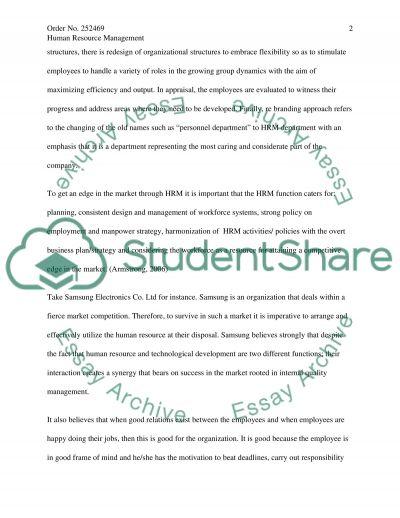 Human Resource Management Practice essay example