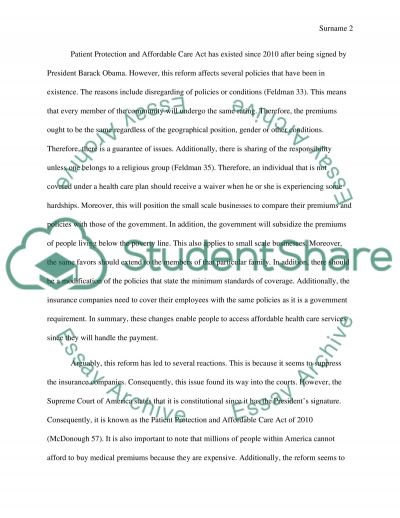 essay on patient protection and affordable care act
