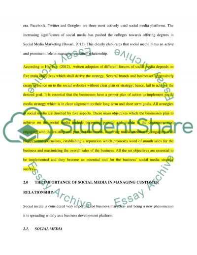 The Role of Social Media in Managing Customer Relationship essay example