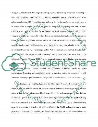 Leadership Styles In Professional Nursing essay example