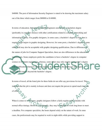 IT Career Comparison essay example