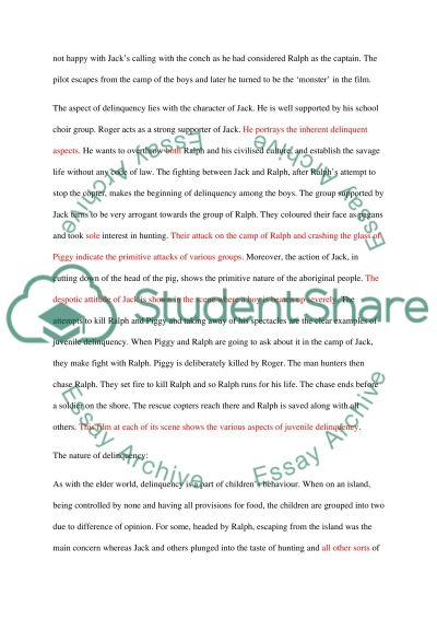 Juvenile Delinquency Film Analysis Essay Assignment