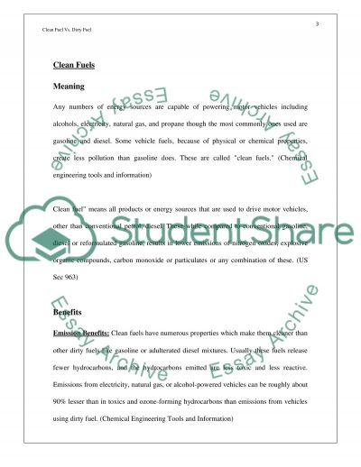 Clean Fuels and Dirty Fuels essay example