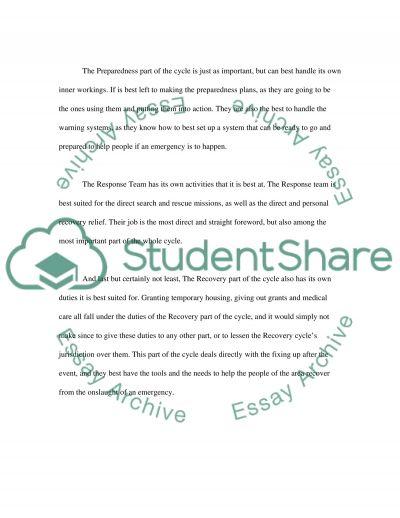 Disaster Preparedness & Response essay example