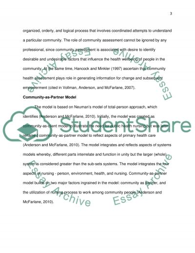 COMMUNITY ASSESSMENT AND DIAGNOSIS Essay example