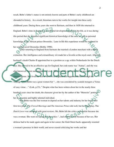 Aphra Behn essay example