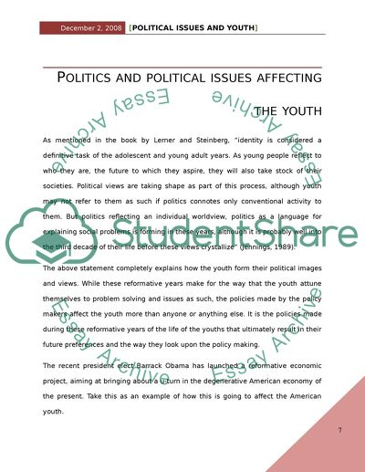How Political Issues Affect Youth, and How Youth Can Affect Political Issues