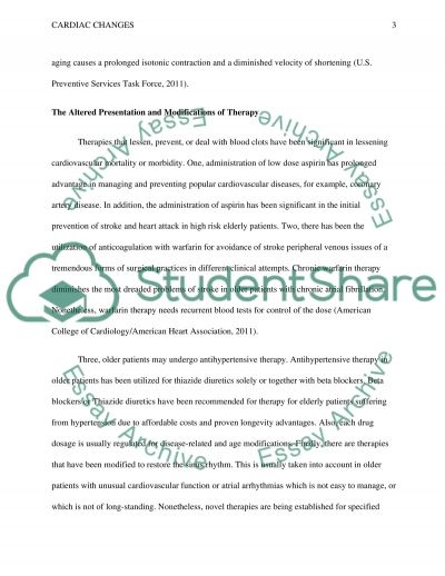 cardiac changes Essay example