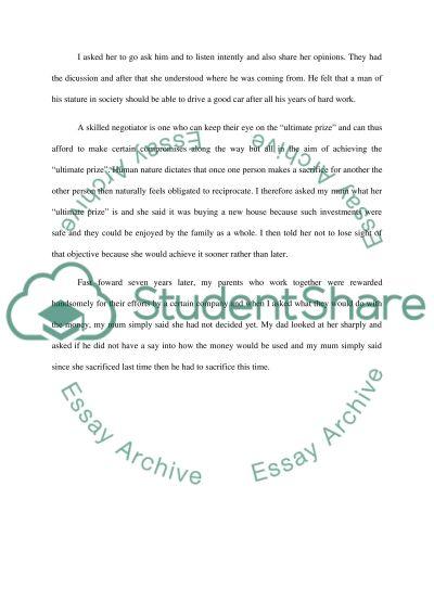 Negotiation Post 2 essay example