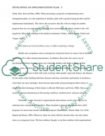 Developing an implementation plan essay example
