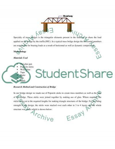 Introduction to Engineering - Truss Bridge Design essay example