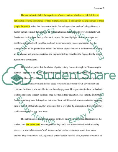 Analysing Argument - A Way to Pay for College, With Dividends