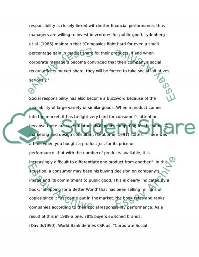 Corporate Social Responsibility Bachelor Essay