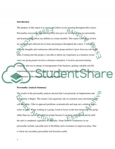 Self reflection Report essay example