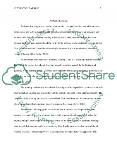 Authentic learning essay example