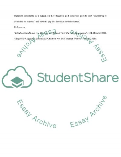 The Negative of Internet on Education essay example