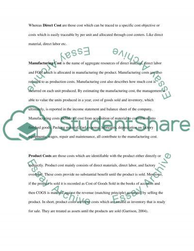 Cost Descriptions Paper essay example