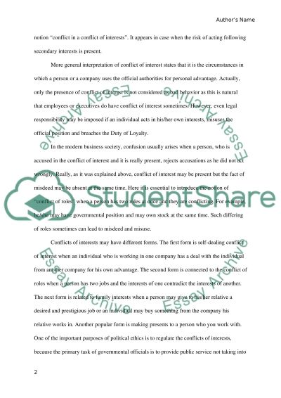 conflicts of interest in nowadays business Essay example