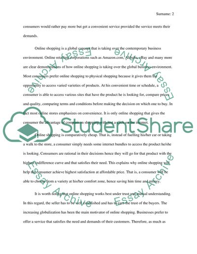 The advantages of online shopping Essay Example | Topics and