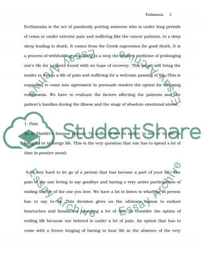 Euthanasia College Essay essay example