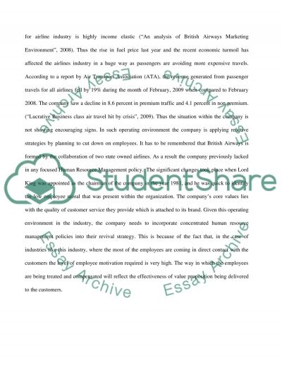 Human resource - service industry essay example