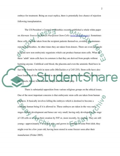 Stem Cell Research - Stem cell research essay example