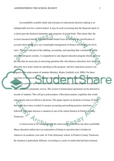 Administering the School Budget & Accounting and Auditing essay example