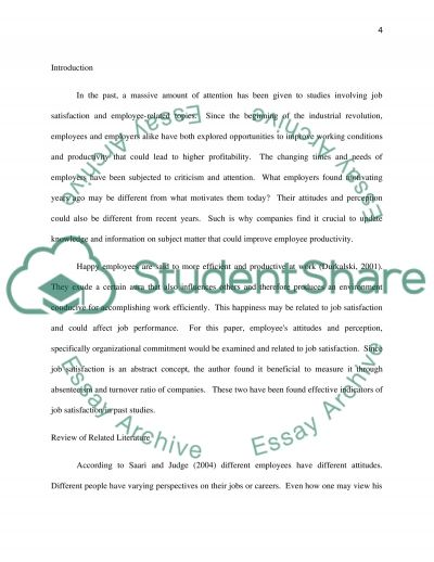 The Effect of Employee Attitude and Perception on Job Satisfaction and Performance essay example