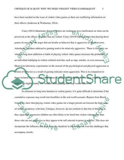Critique Of Why We Need Violent Video Games Essay Critique Of Why We Need Violent Video Games English As A Global Language Essay also Online Writing Serives  Proofreading Services Reviews