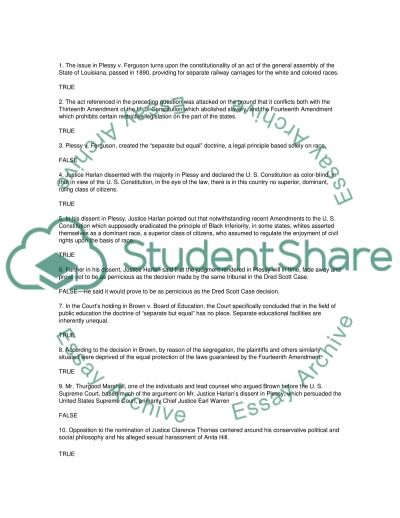 Answer questions (TF) essay example