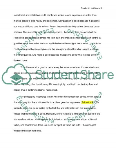 My Ethical System and Its Justification essay example