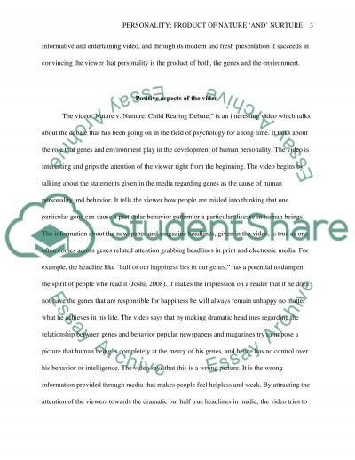Personality: Product of nature and Nature essay example