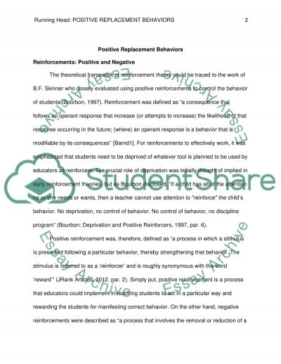 Positive Replacement Behaviors essay example
