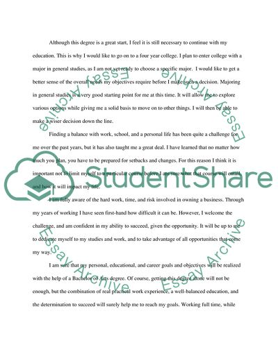 Personal Essay/ Statement of Objectives