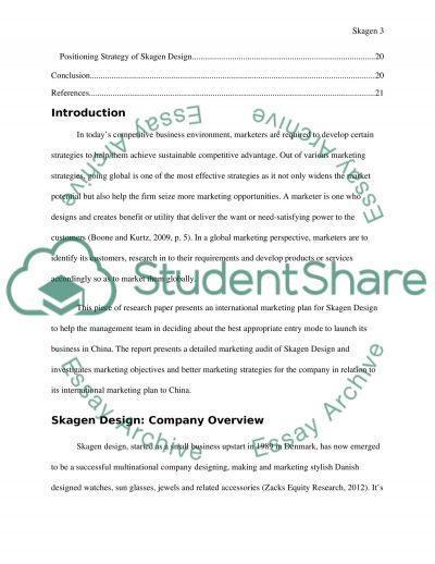 MARKETING PLAN FOR SKAGEN DESIGN essay example