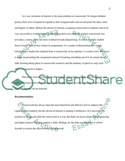The advantages and disadvantages of coursework as a means of assessment