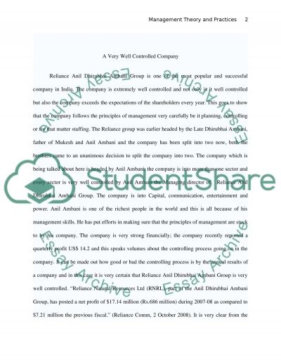 Management Theory and Practices essay example