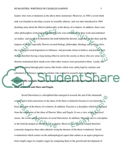 Compare And Contrast Essay Examples For High School Humanities  Writings Of Charles Darwin 1984 Essay Thesis also Essays With Thesis Statements Humanities  Writings Of Charles Darwin Essay Example  Topics And  Essay Proposal Template
