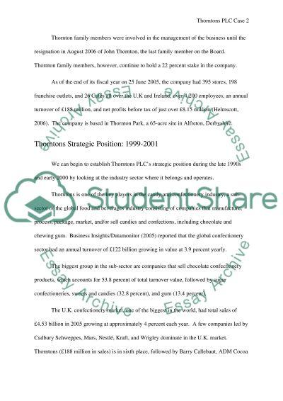Case Study on Thorntons plc essay example