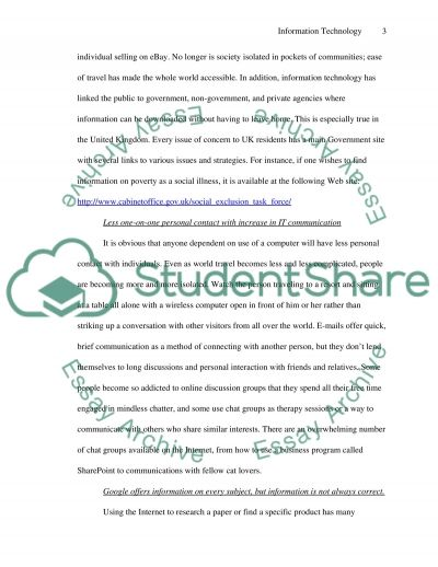 Information Technology and Contemporary Social Change essay example