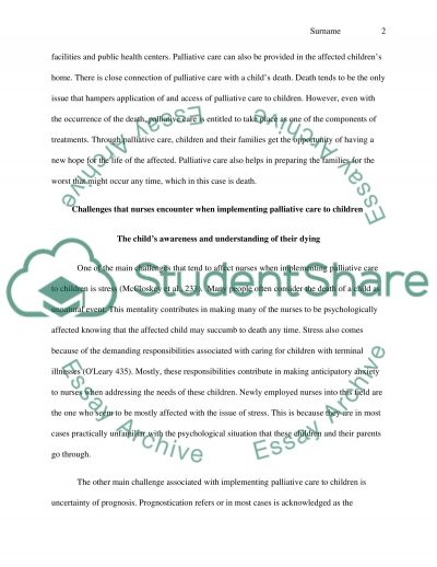 Care of Sick Children Essay example