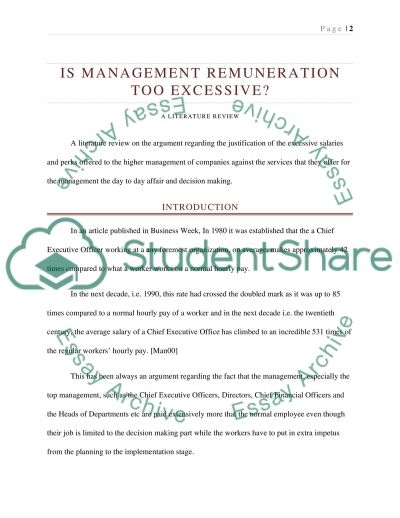 Is management remuneration too excessive? Essay example